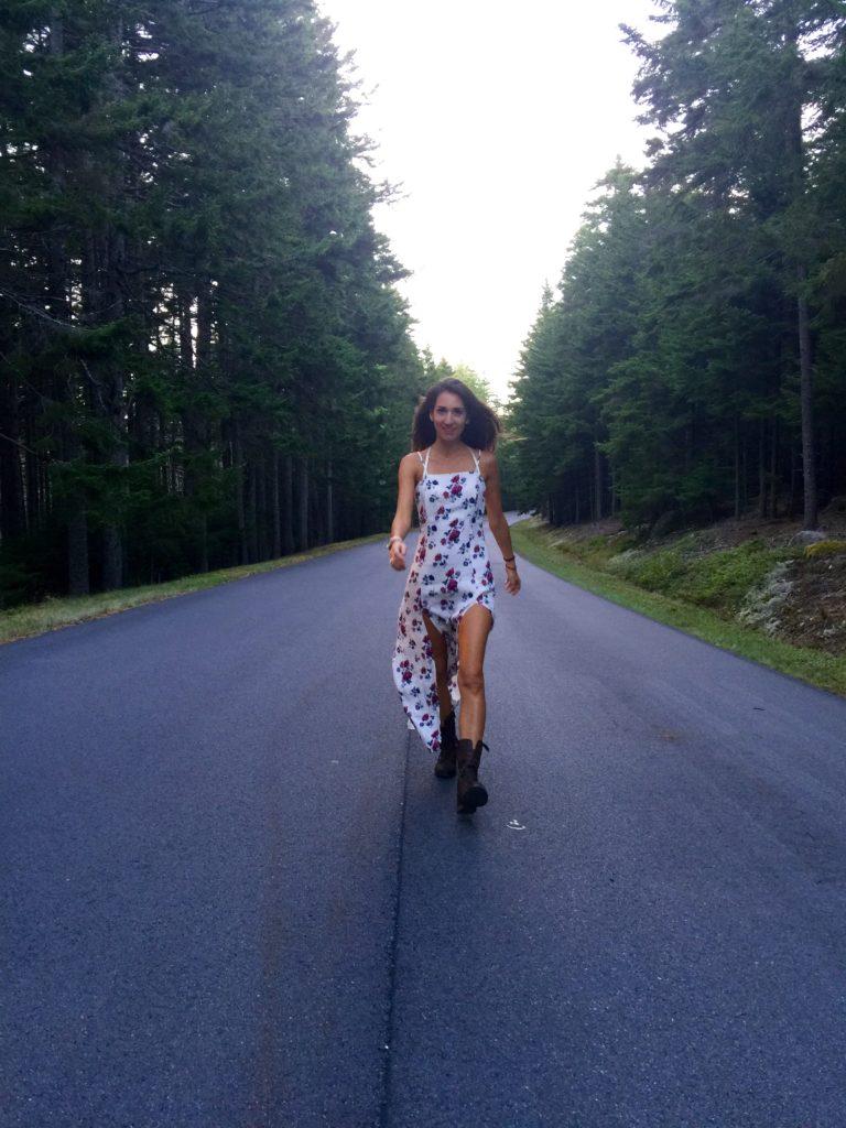 girl on the road Acadia forever21 dress