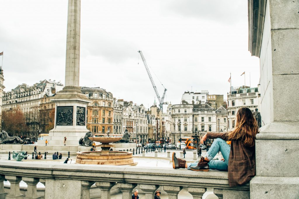 woman in trafalgar square in london