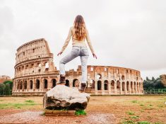 girl in front of colosseum in Rome