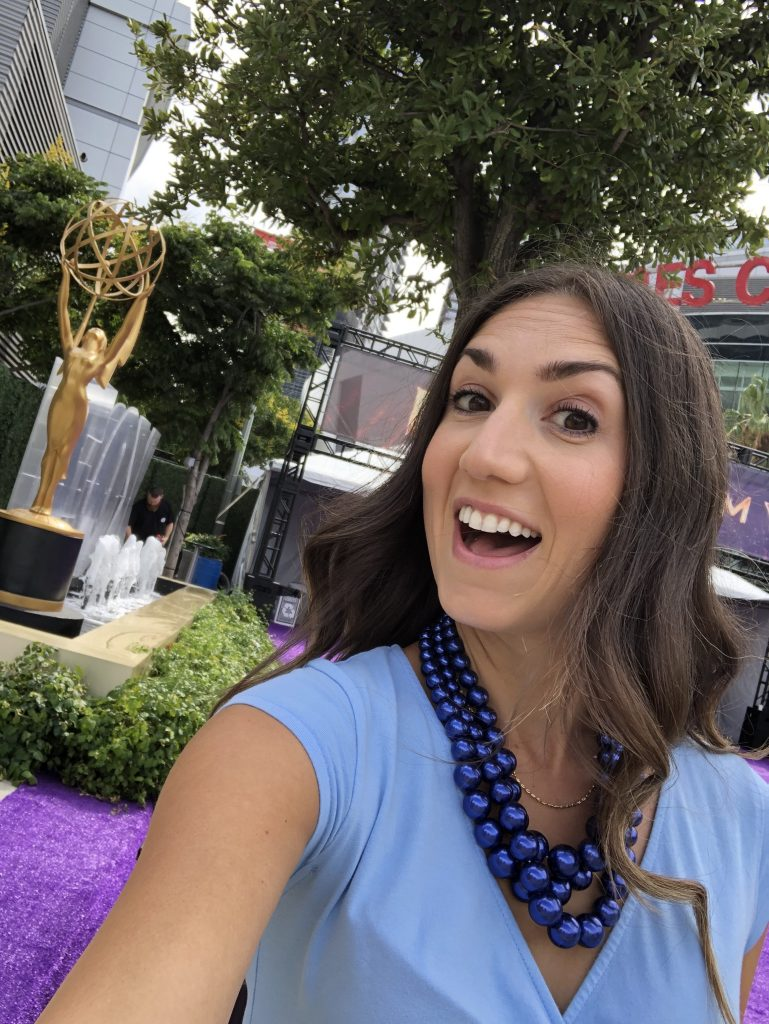 Meg Harrell from megforit.com at the Emmys Red Carpet 2019