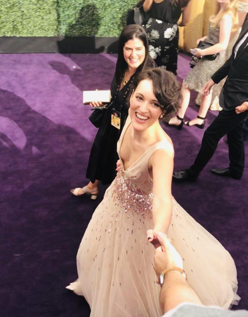 Phoebe Waller-bridge with Meg Harrell of megforit.com at the Emmys Red Carpet 2019
