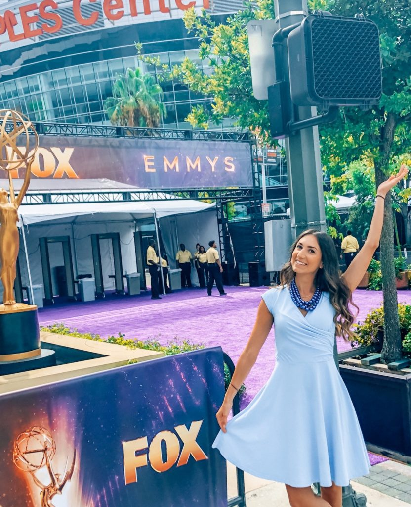 Meg Harrell of megforit.com at the Emmys Red Carpet 2019