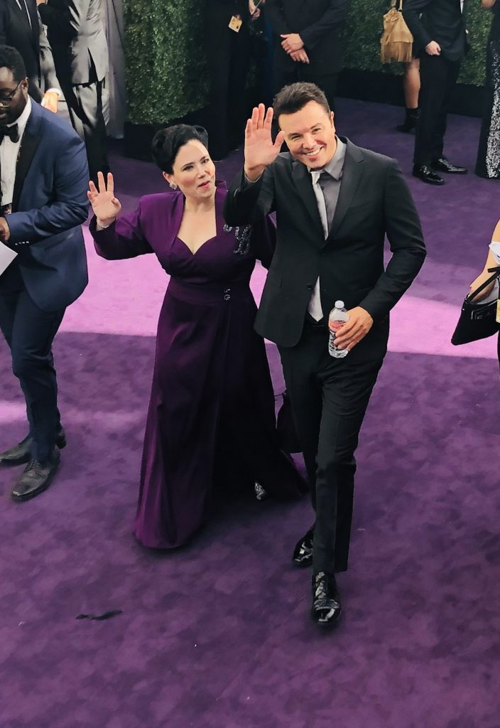 Alex Borstein and Seth MacFarlane Emmys red carpet