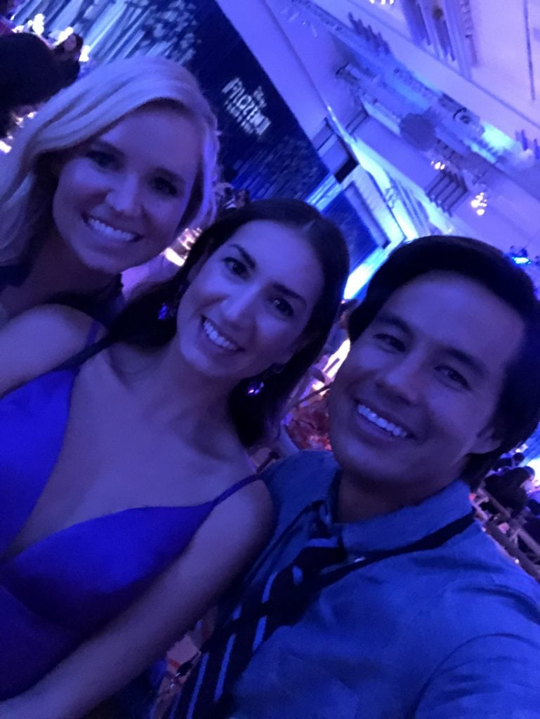 Jessica and Garrett Gee at the Frozen 2 premiere in the Dolby theater with megforit Meg Harrell