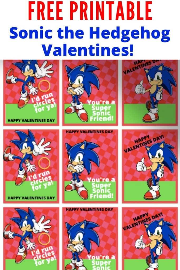 Free Printable Valentine Card Sonic The Hedgehog